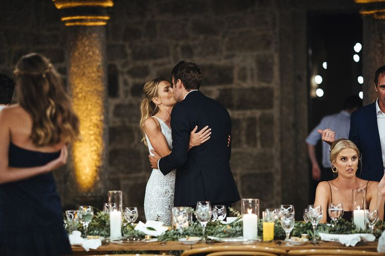 Wedding Reception Speeches with Bride in Pallas Couture Esila Wedding Dress and Groom in a Monokel Tuxedo