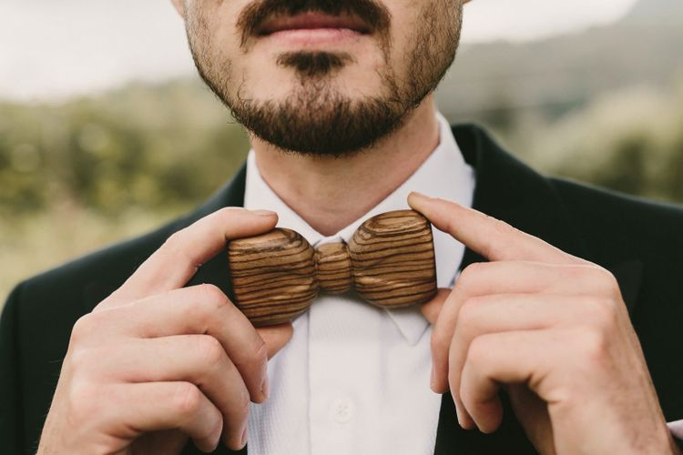 Groom with Wooden Bow Tie