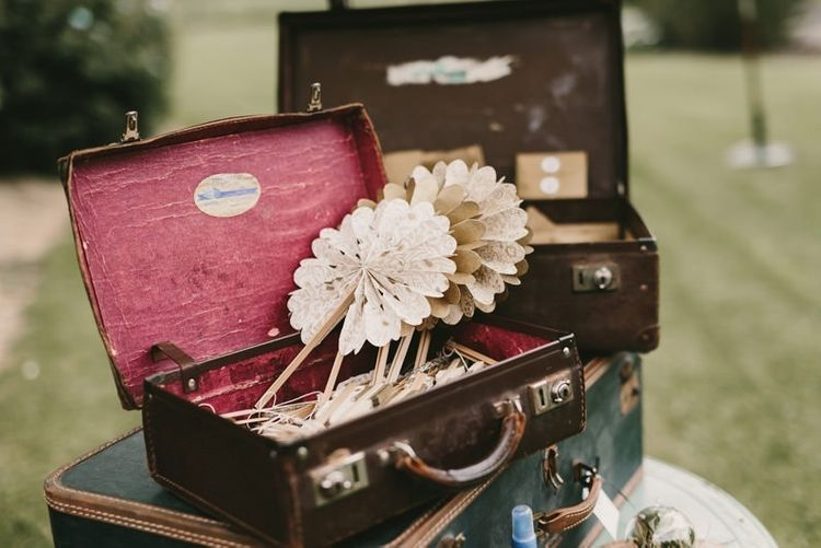 Vintage Suitcases and Vintage Book Pages Paper Fans