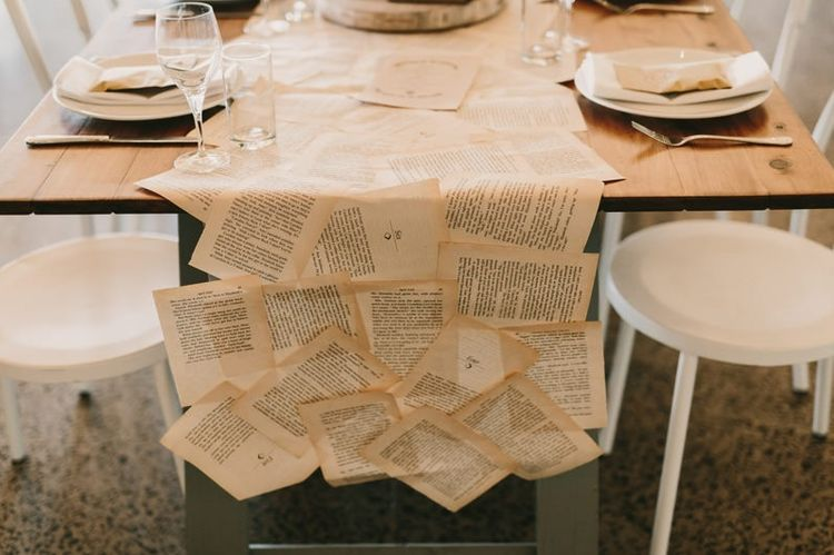 Aged Book Pages Table Runner
