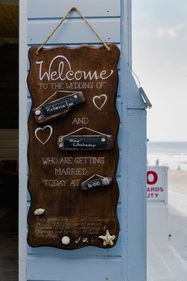 Wooden Welcome Sign | Lusty Glaze Beach Wedding Newquay Cornwall | Alexa Poppe Photography