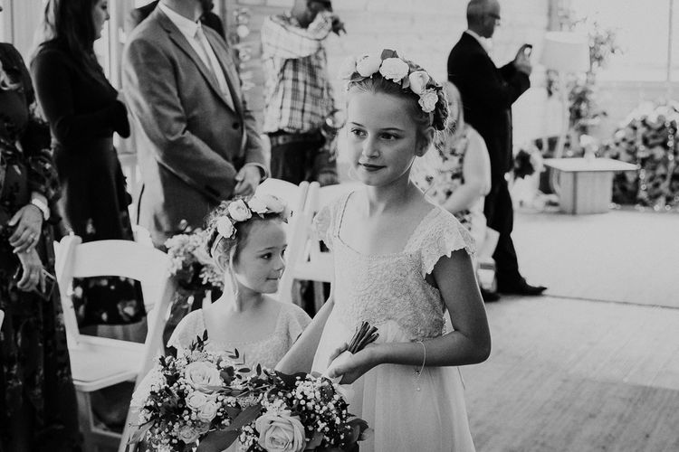 Flower Girls in Monsoon Dress with Flower Crowns | Lusty Glaze Beach Wedding Newquay Cornwall | Alexa Poppe Photography