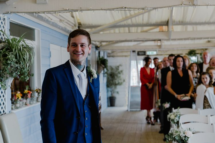 Groom at the Altar in Blue Three Piece Suit | Lusty Glaze Beach Wedding Newquay Cornwall | Alexa Poppe Photography
