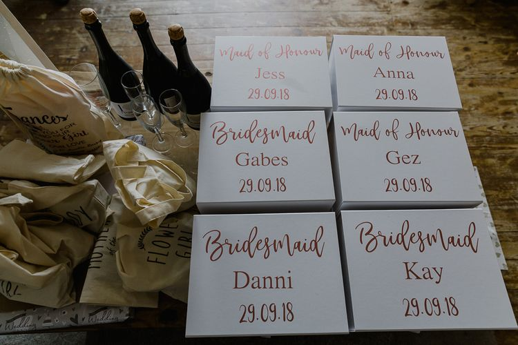 Bridesmaid Gift Boxes | Lusty Glaze Beach Wedding Newquay Cornwall | Alexa Poppe Photography