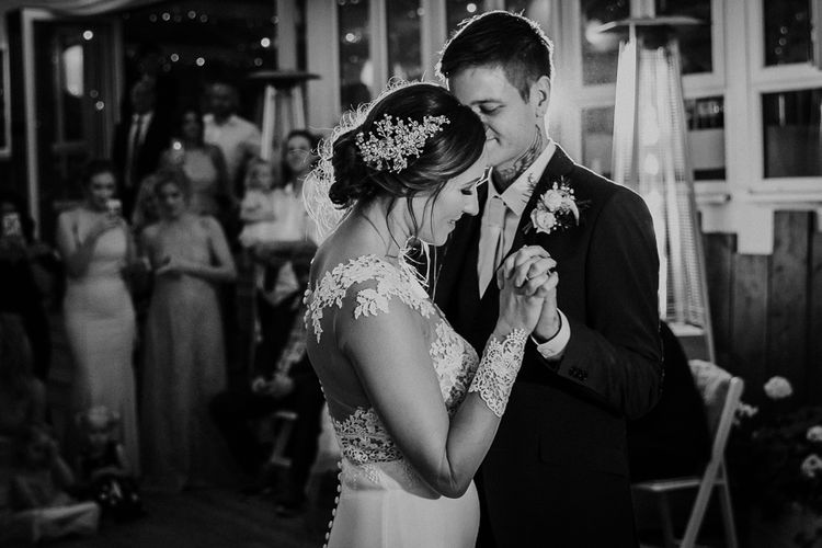 First Dance | Bride in Lace Long Sleeve Martina Liana Wedding Dress | Groom in Navy Three-piece Suit | Lusty Glaze Beach Wedding Newquay Cornwall | Alexa Poppe PhotographyLusty Glaze Beach Wedding Newquay Cornwall | Alexa Poppe Photography