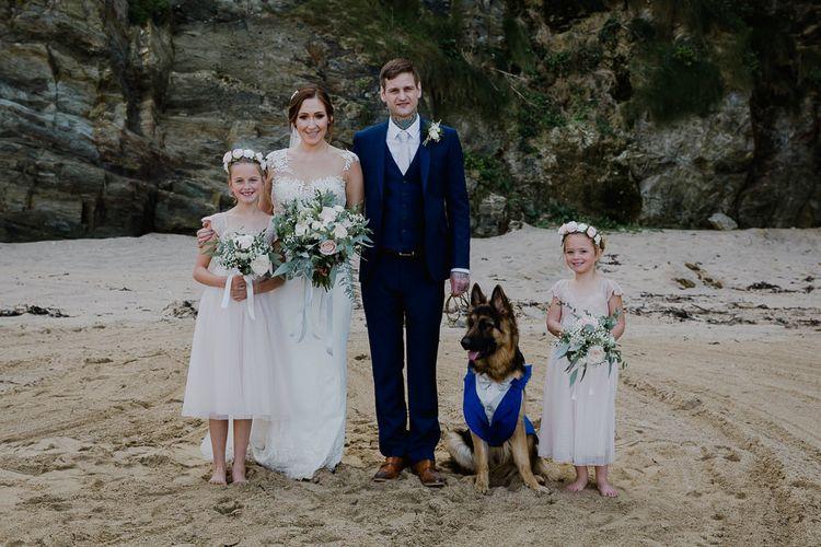 Family Coastal Portrait | Bride in Lace Long Sleeve Martina Liana Wedding Dress | Groom in Navy Three-piece Suit | Lusty Glaze Beach Wedding Newquay Cornwall | Alexa Poppe PhotographyLusty Glaze Beach Wedding Newquay Cornwall | Alexa Poppe Photography
