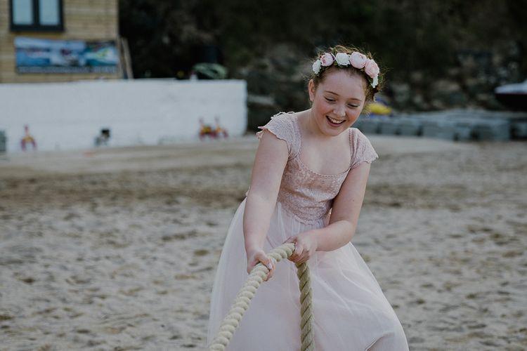 Beach Tug of War | Wedding Games | Lusty Glaze Beach Wedding Newquay Cornwall | Alexa Poppe Photography