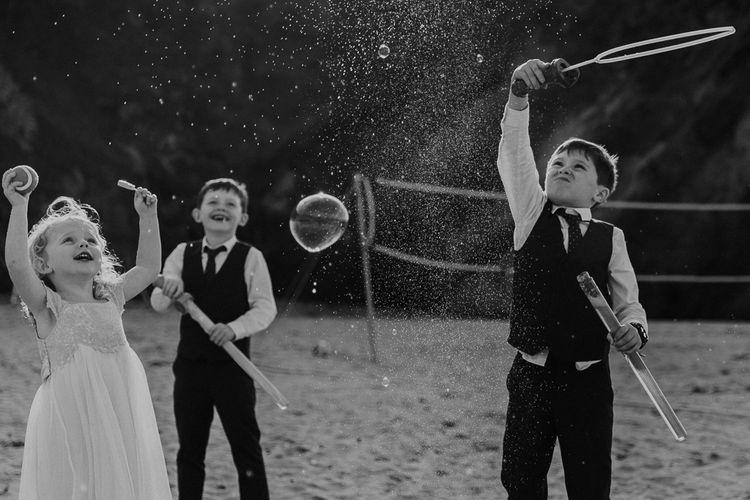 Bubbles | Wedding Entertainment | Lusty Glaze Beach Wedding Newquay Cornwall | Alexa Poppe Photography