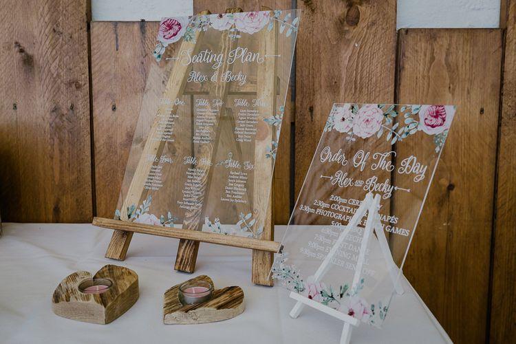 Acrylic Seating Chart & Order of The Day Wedding Signs | Wedding Decor | Lusty Glaze Beach Wedding Newquay Cornwall | Alexa Poppe Photography