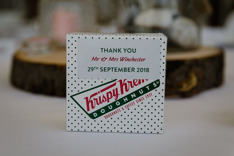 Krispy Kreme Doughnut Wedding Favour | Lusty Glaze Beach Wedding Newquay Cornwall | Alexa Poppe Photography