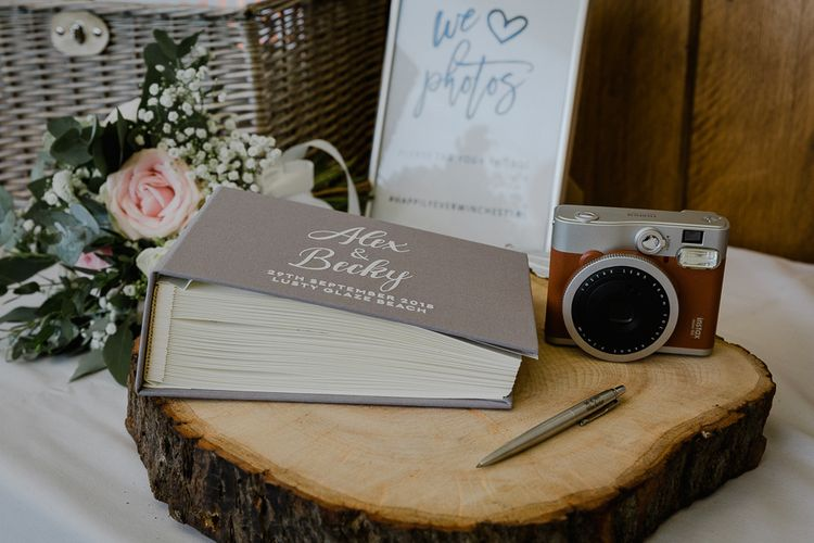 Polaroid Picture Guest Book Wedding Station | Lusty Glaze Beach Wedding Newquay Cornwall | Alexa Poppe Photography