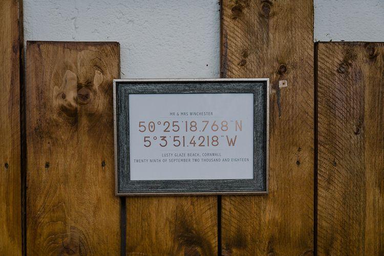Coordinates Wedding Sign | Wedding Decor | Lusty Glaze Beach Wedding Newquay Cornwall | Alexa Poppe Photography