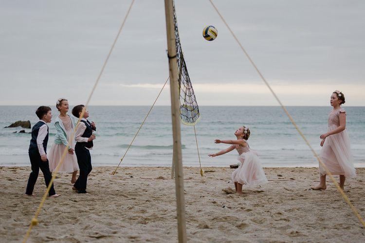 Beach Volleyball Wedding Games | Lusty Glaze Beach Wedding Newquay Cornwall | Alexa Poppe Photography