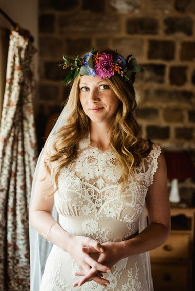 Bride in Claire Pettibone Wedding Dress & Flower Crown | Colourful Outdoor Ceremony and Marquee Reception at Braisty Estate in North Yorkshire | The Lou's Photography