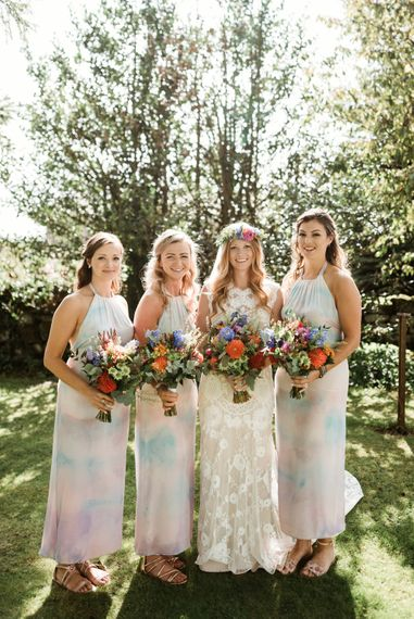 Bridal Party | Bride in Claire Pettibone Wedding Dress | Colourful Outdoor Ceremony and Marquee Reception at Braisty Estate in North Yorkshire | The Lou's Photography