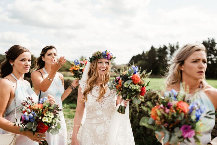 Bridal Party | Bride in Claire Pettibone Wedding Dress | Colourful Wild Flower Bouquet | Colourful Outdoor Ceremony and Marquee Reception at Braisty Estate in North Yorkshire | The Lou's Photography