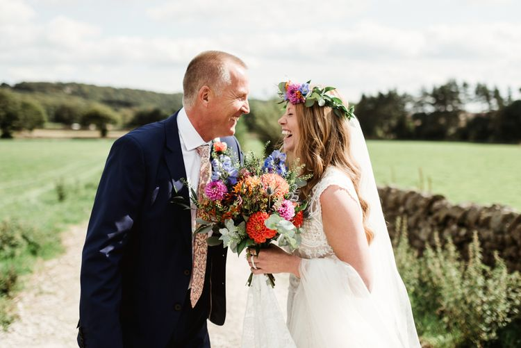 Father of the Bride Moment | Bride in Claire Pettibone Wedding Dress | Colourful Wild Flower Bouquet | Colourful Outdoor Ceremony and Marquee Reception at Braisty Estate in North Yorkshire | The Lou's Photography