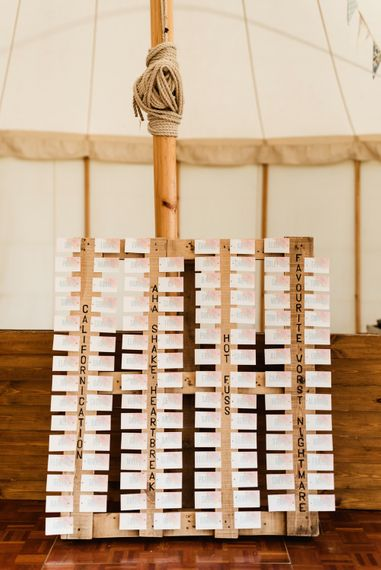 Wooden Palette Table Plan | Colourful Outdoor Ceremony and Marquee Reception at Braisty Estate in North Yorkshire | The Lou's Photography