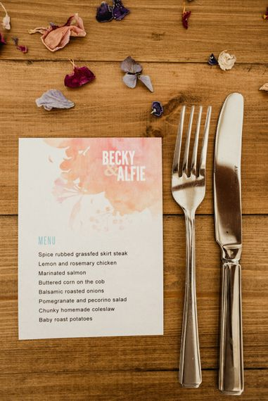 Menu Card Wedding Stationery | Colourful Outdoor Ceremony and Marquee Reception at Braisty Estate in North Yorkshire | The Lou's Photography