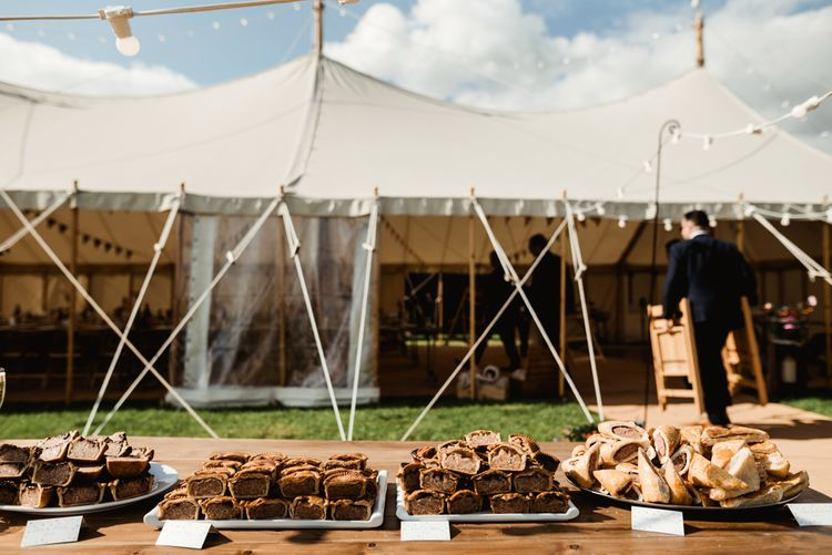 Pork Pie Station | Colourful Outdoor Ceremony and Marquee Reception at Braisty Estate in North Yorkshire | The Lou's Photography
