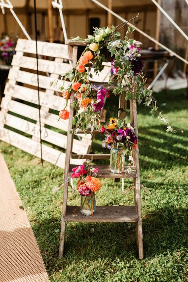 Vintage Step Ladder & Wild Flowers in Jars Wedding Decor | Colourful Outdoor Ceremony and Marquee Reception at Braisty Estate in North Yorkshire | The Lou's Photography