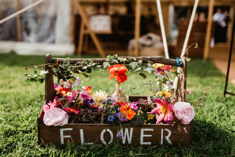 Wild Flower Wedding Decor | Colourful Outdoor Ceremony and Marquee Reception at Braisty Estate in North Yorkshire | The Lou's Photography