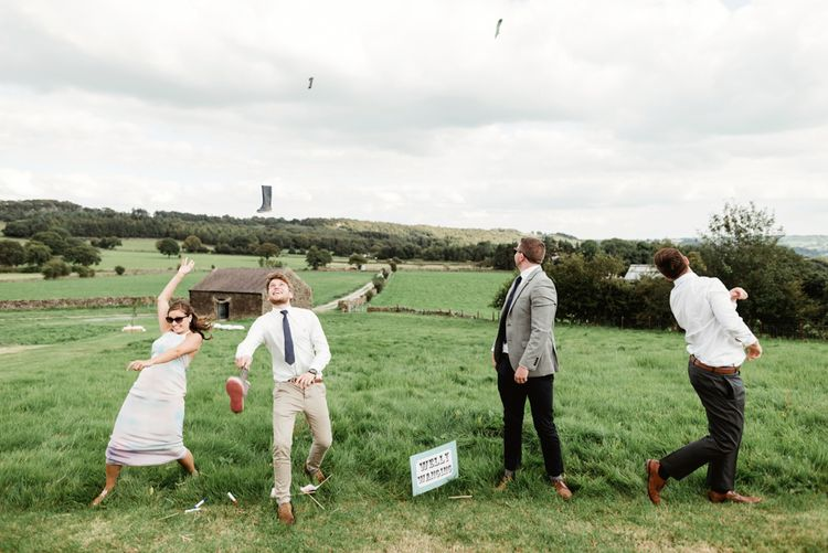 Welly Wang | Bride in Claire Pettibone Wedding Dress | Groom in Waistcoat | Colourful Outdoor Ceremony and Marquee Reception at Braisty Estate in North Yorkshire | The Lou's Photography