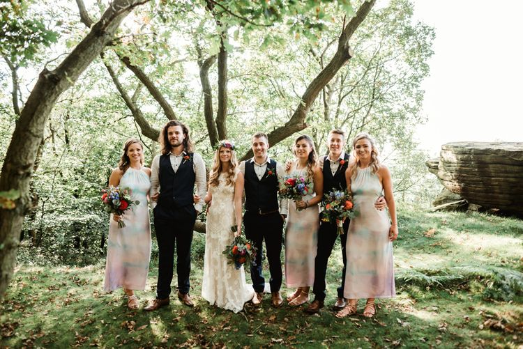 Wedding Party | Bride in Claire Pettibone Wedding Dress | Groom in Waistcoat | Colourful Outdoor Ceremony and Marquee Reception at Braisty Estate in North Yorkshire | The Lou's Photography