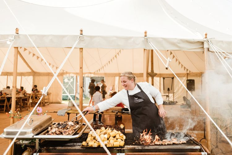 Wedding Catering | Bride in Claire Pettibone Wedding Dress | Groom in Waistcoat | Colourful Outdoor Ceremony and Marquee Reception at Braisty Estate in North Yorkshire | The Lou's Photography