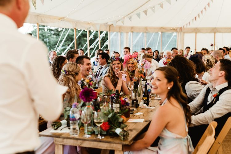 Wedding Reception | Bride in Claire Pettibone Wedding Dress | Groom in Waistcoat | Colourful Outdoor Ceremony and Marquee Reception at Braisty Estate in North Yorkshire | The Lou's Photography