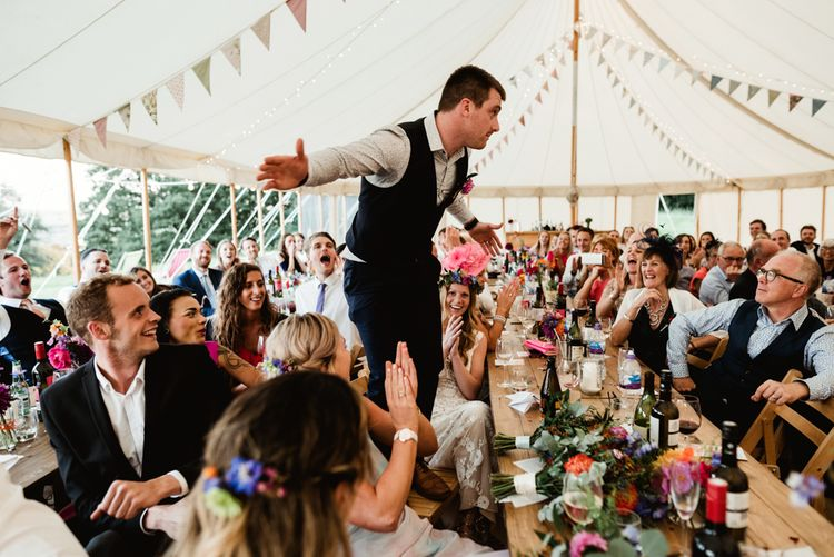 Wedding Speech | Bride in Claire Pettibone Wedding Dress | Groom in Waistcoat | Colourful Outdoor Ceremony and Marquee Reception at Braisty Estate in North Yorkshire | The Lou's Photography