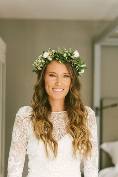 Bride Before Ceremony With Flower Crown