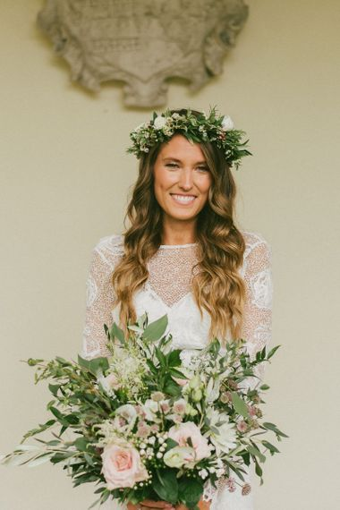 Bride with Down Wavy Hair and Bouquet