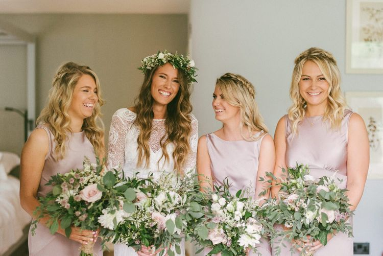 Bridal Party In Pink Ghost Bridesmaid Dresses