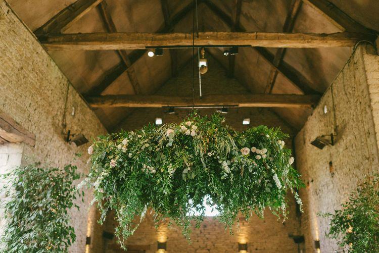 Wedding Flower Installation In Barn