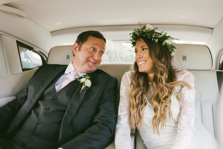 Bride with Father in Car On Their Way To Ceremony