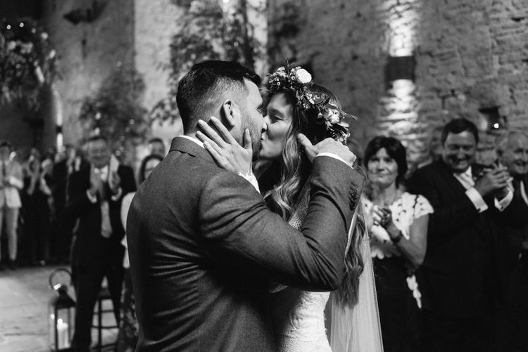 Bride and Groom Kiss As Husband and Wife