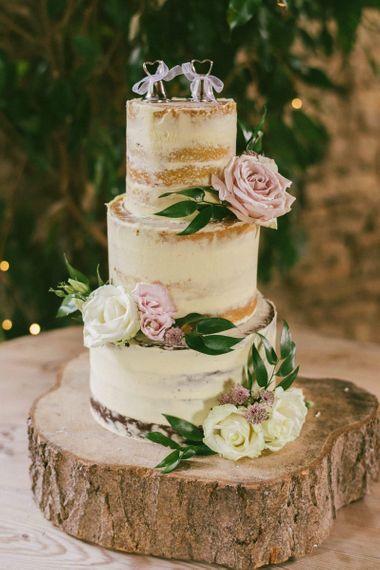 Semi Naked Wedding Cake With Pink Flower Decor
