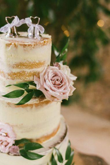Pink Rose On Semi Naked Wedding Cake