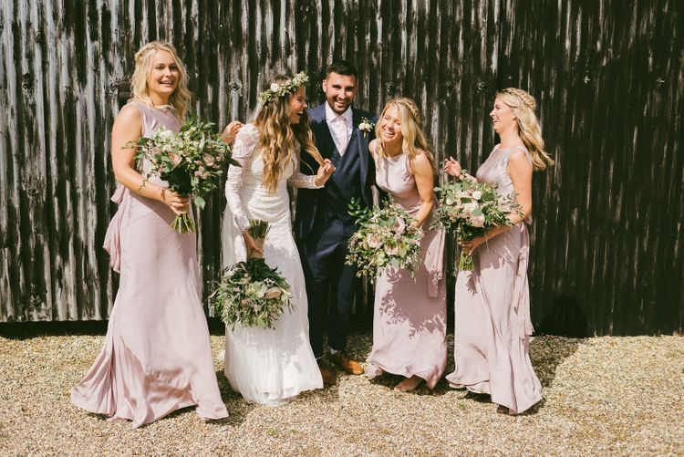 Bride and Groom With Bridesmaids In Ghost Wedding Dresses
