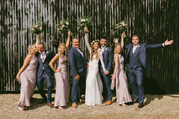 Bridal Party and Groomsmen Pose For Photo