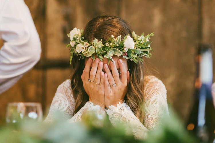 Bride Gets Emotional During Speeches Whilst Wearing Flower Crown