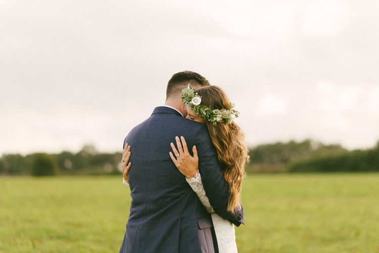 Bride and Groom Embrace Portrait