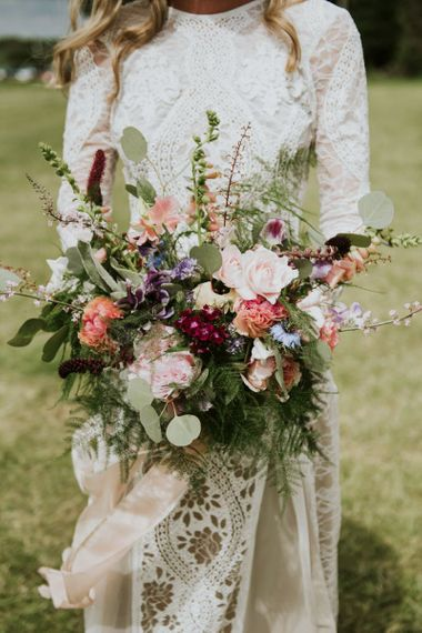 Stunning wildflower bouquet for outdoor ceremony