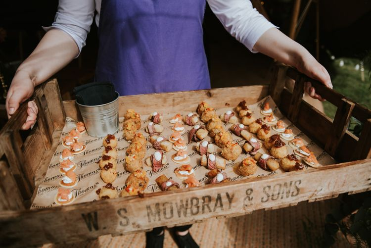 Canapes and wedding food for summer wedding
