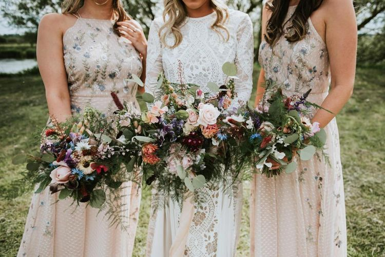 Wildflower bouquet for bride and bridesmaids
