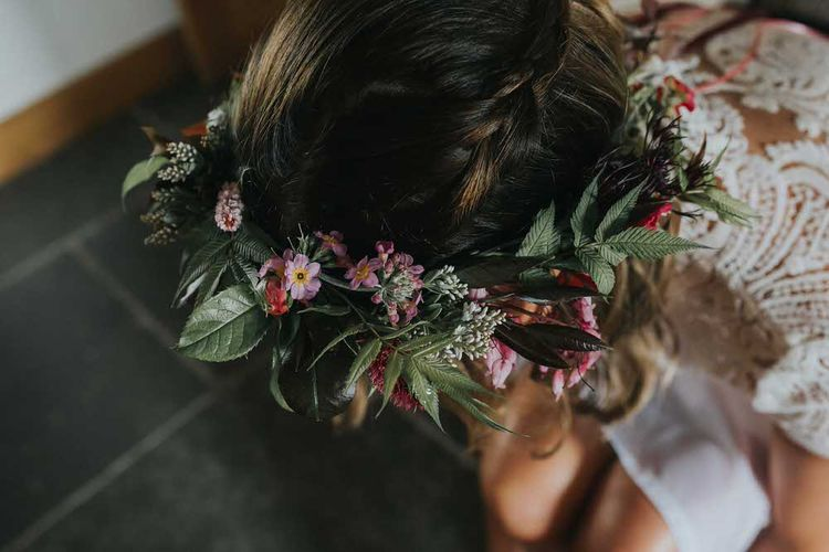 Bride In Foliage And Flower Crown For Wedding / Image By Jo Greenfield Photographer