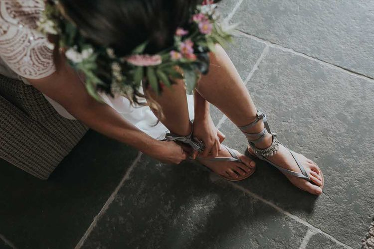 Bride In Grey Sandals For Wedding / Image By Jo Greenfield Photographer