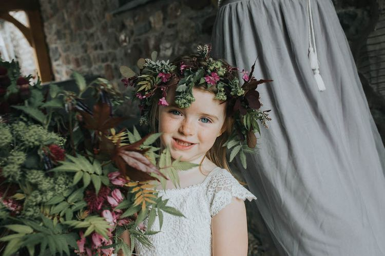 Flower Girl In Floral Crown / Image By Jo Greenfield Photographer