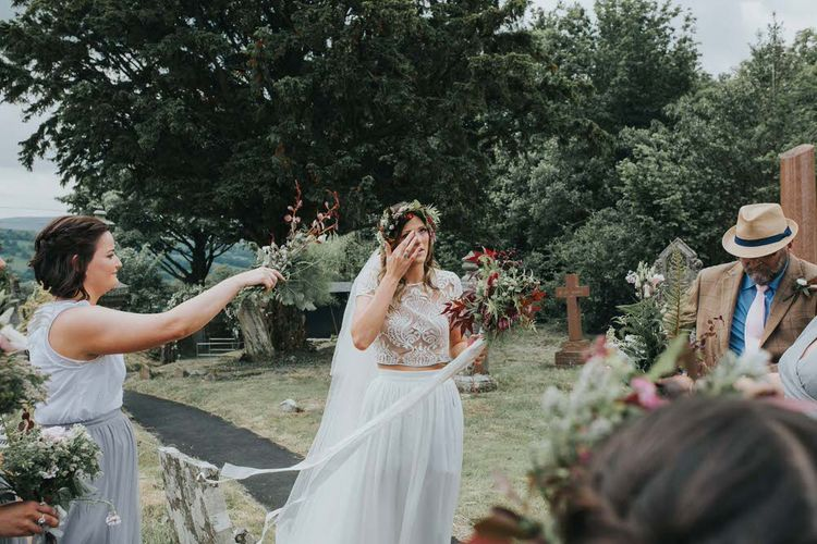 Bride In Separates With Seasonal Bouquet / Image By Jo Greenfield Photographer